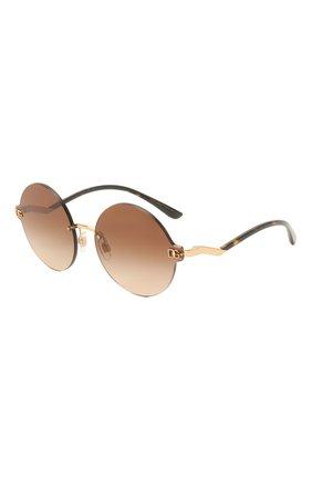 Женские солнцезащитные очки DOLCE & GABBANA коричневого цвета, арт. 2269-02/13   Фото 1 (Тип очков: С/з; Оптика Гендер: оптика-женское; Очки форма: Круглые)