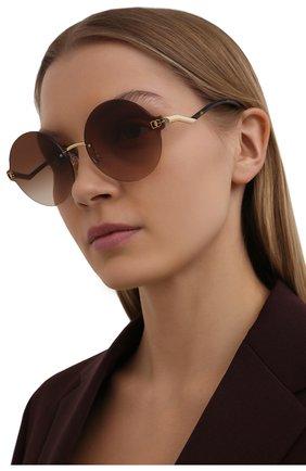 Женские солнцезащитные очки DOLCE & GABBANA коричневого цвета, арт. 2269-02/13   Фото 2 (Тип очков: С/з; Оптика Гендер: оптика-женское; Очки форма: Круглые)