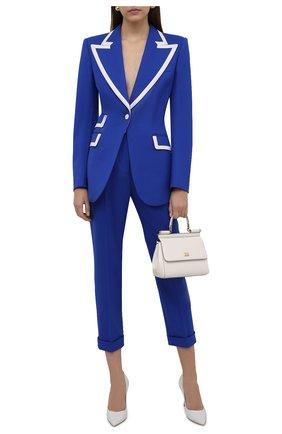 Женские шерстяные брюки DOLCE & GABBANA синего цвета, арт. I3C29W/GDZAU | Фото 2