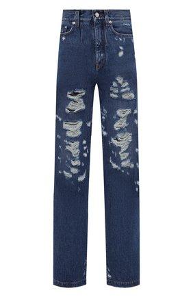 Женские джинсы DOLCE & GABBANA синего цвета, арт. I3C31W/G902L   Фото 1 (Материал внешний: Хлопок, Деним; Длина (брюки, джинсы): Удлиненные; Силуэт Ж (брюки и джинсы): Прямые)