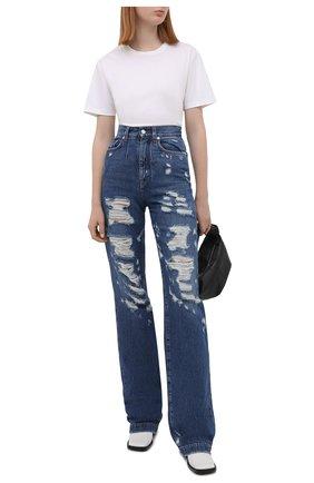 Женские джинсы DOLCE & GABBANA синего цвета, арт. I3C31W/G902L   Фото 2 (Материал внешний: Хлопок, Деним; Длина (брюки, джинсы): Удлиненные; Силуэт Ж (брюки и джинсы): Прямые)