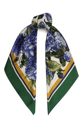 Женский шелковый платок DOLCE & GABBANA зеленого цвета, арт. IN090R/G0TGF | Фото 1