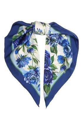 Женский шелковый платок DOLCE & GABBANA голубого цвета, арт. IN090R/G0TGH | Фото 1