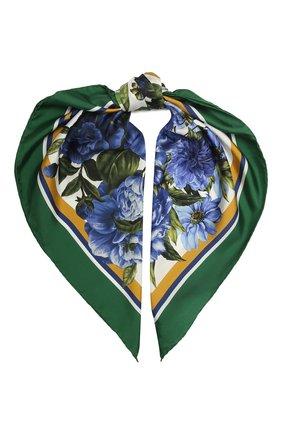 Женский шелковый платок DOLCE & GABBANA зеленого цвета, арт. IN093R/G0TGF | Фото 1