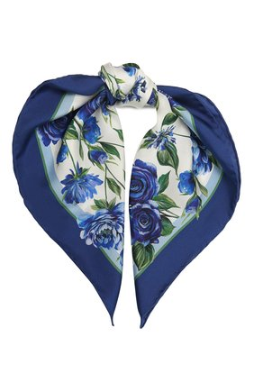 Женский шелковый платок DOLCE & GABBANA голубого цвета, арт. IN093R/G0TGH | Фото 1
