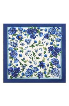 Женский шелковый платок DOLCE & GABBANA голубого цвета, арт. IN093R/G0TGH | Фото 2