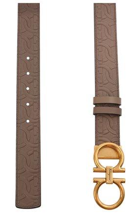 Женский кожаный ремень SALVATORE FERRAGAMO светло-коричневого цвета, арт. Z-0741623 | Фото 2
