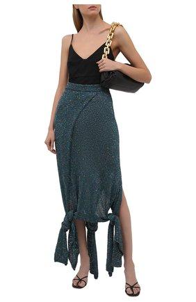 Женская юбка LOEWE бирюзового цвета, арт. S540Y17K23 | Фото 2 (Материал внешний: Синтетический материал; Длина Ж (юбки, платья, шорты): Макси; Стили: Бохо; Женское Кросс-КТ: Юбка-одежда; Материал подклада: Вискоза; Кросс-КТ: Трикотаж)