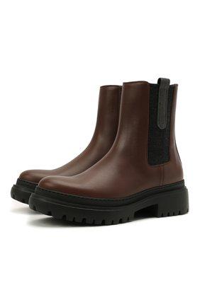 Женские кожаные ботинки BRUNELLO CUCINELLI темно-коричневого цвета, арт. MZBSG2008P | Фото 1 (Женское Кросс-КТ: Челси-ботинки; Каблук высота: Низкий; Подошва: Платформа; Материал внутренний: Натуральная кожа)