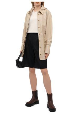 Женские кожаные ботинки BRUNELLO CUCINELLI темно-коричневого цвета, арт. MZBSG2008P | Фото 2 (Женское Кросс-КТ: Челси-ботинки; Каблук высота: Низкий; Подошва: Платформа; Материал внутренний: Натуральная кожа)