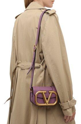 Женская сумка vlogo VALENTINO фиолетового цвета, арт. VW0B0G45/ZXL   Фото 2 (Сумки-технические: Сумки через плечо; Материал: Натуральная кожа; Размер: mini; Ремень/цепочка: На ремешке)