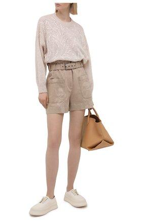 Женские джинсовые шорты BRUNELLO CUCINELLI бежевого цвета, арт. MH160P5651 | Фото 2