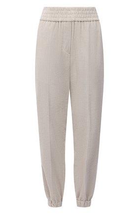 Женские джоггеры BRUNELLO CUCINELLI светло-бежевого цвета, арт. MP180P7728 | Фото 1 (Женское Кросс-КТ: Джоггеры - брюки; Материал внешний: Хлопок; Стили: Кэжуэл; Длина (брюки, джинсы): Стандартные)