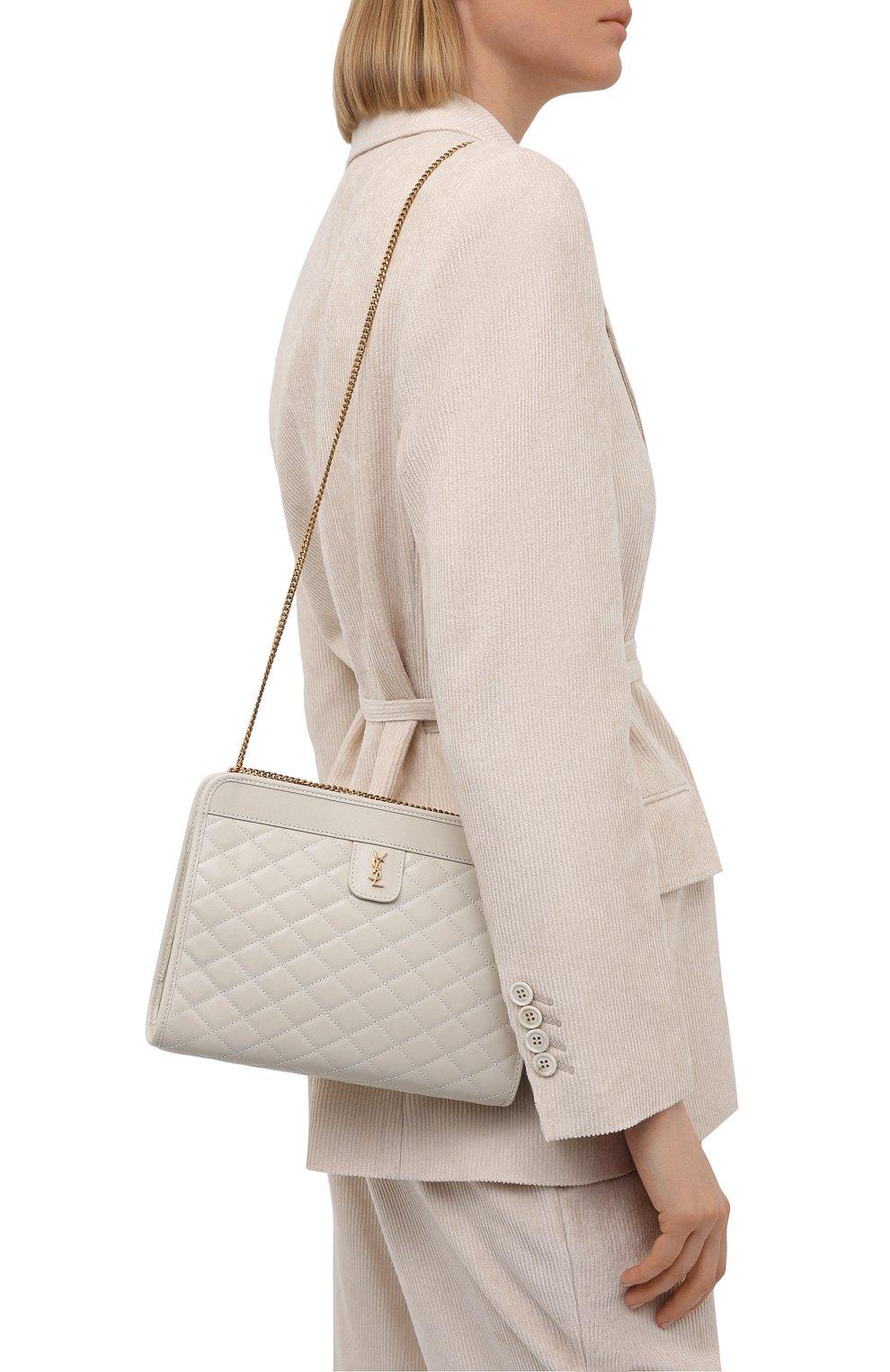 Женская сумка victoire SAINT LAURENT белого цвета, арт. 657361/18V07 | Фото 5 (Женское Кросс-КТ: Вечерняя сумка; Сумки-технические: Сумки через плечо; Ремень/цепочка: С цепочкой; Материал: Натуральная кожа; Размер: small)