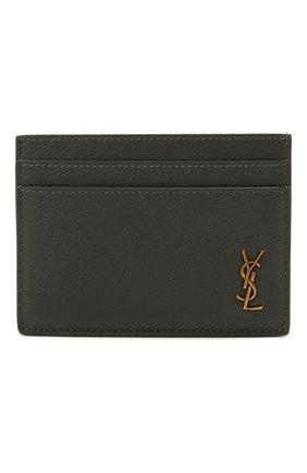 Женский кожаный футляр для кредитных карт SAINT LAURENT темно-серого цвета, арт. 635262/15B0W | Фото 1