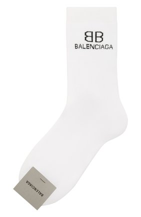 Мужские носки BALENCIAGA белого цвета, арт. 640609/4A4B5 | Фото 1 (Материал внешний: Хлопок; Кросс-КТ: бельё)