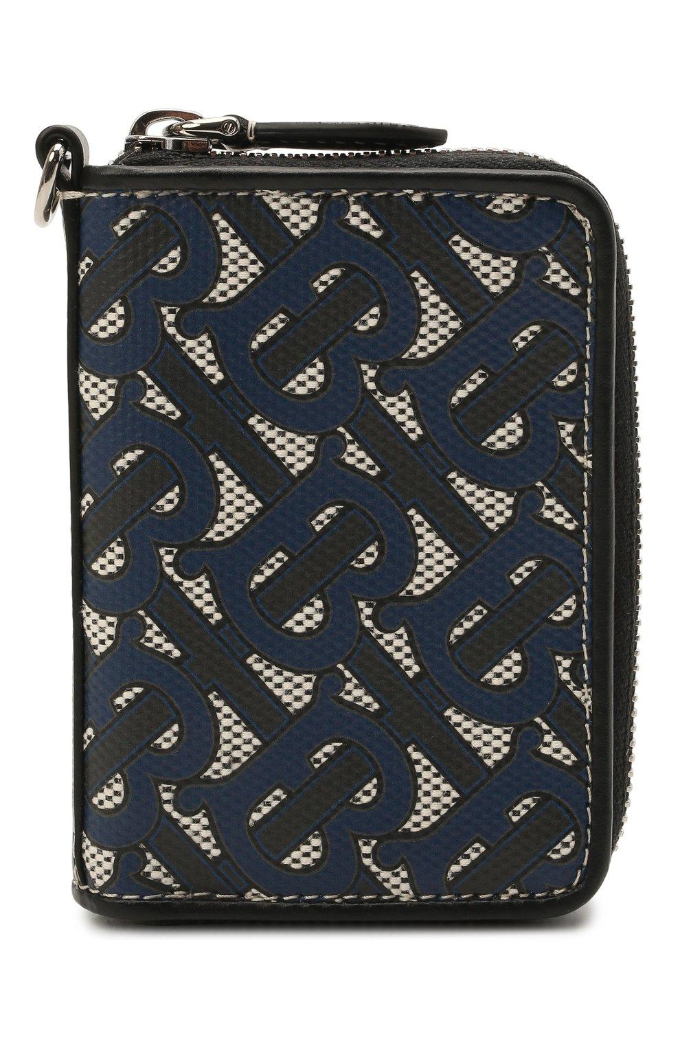 Мужской портмоне BURBERRY темно-синего цвета, арт. 8040283 | Фото 1 (Материал: Текстиль)