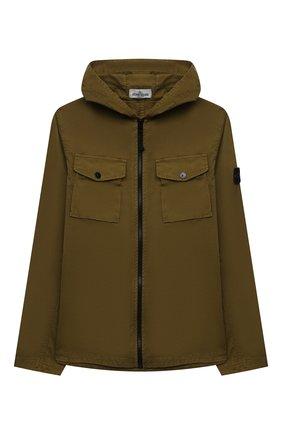 Детского хлопковая куртка STONE ISLAND хаки цвета, арт. 741610510/14 | Фото 1