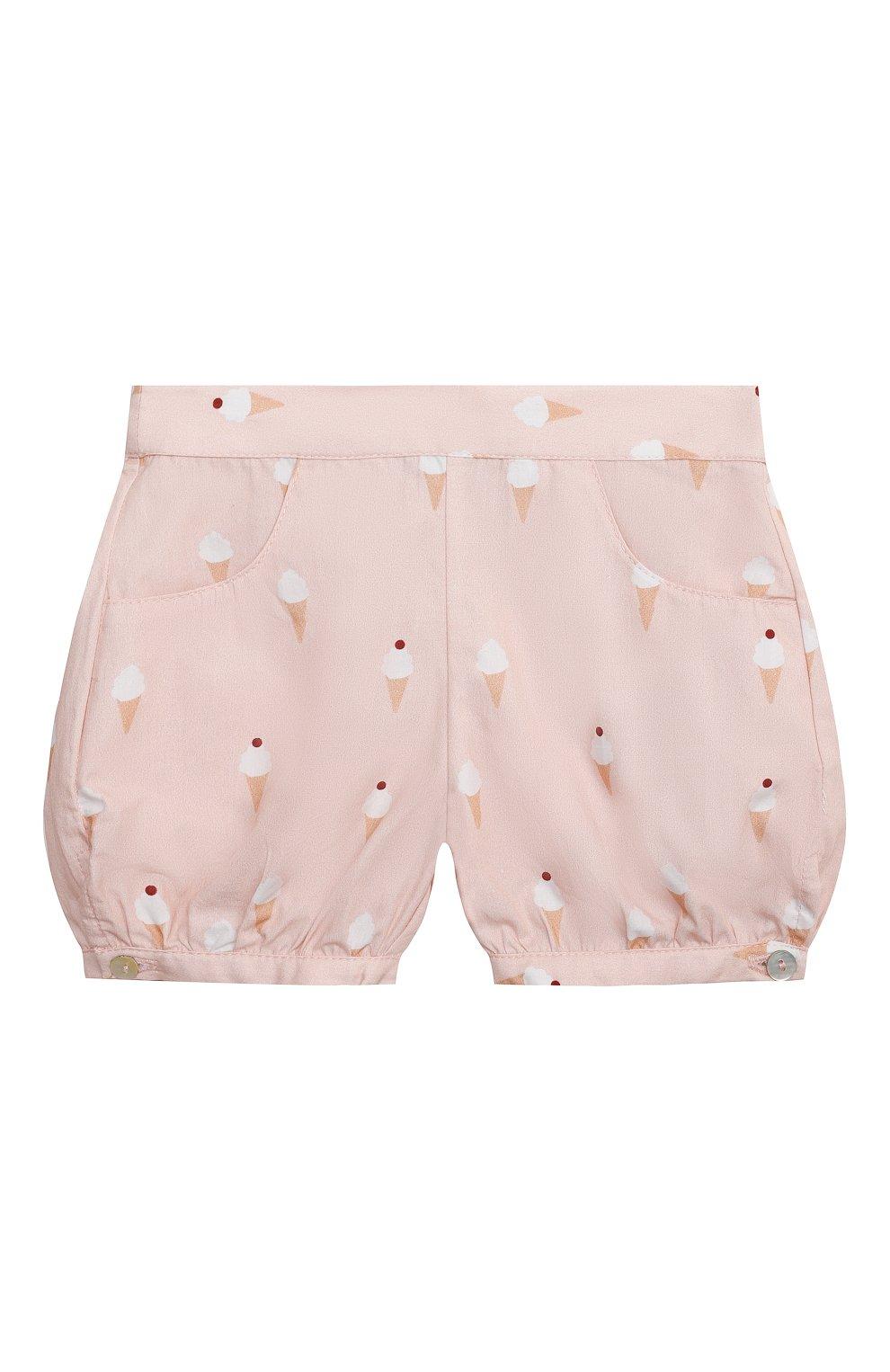 Детские хлопковые шорты LES LUTINS PARIS розового цвета, арт. 21E415/SUZIE | Фото 1 (Материал внешний: Хлопок; Ростовка одежда: 9 мес | 74 см, 18 мес | 86 см, 24 мес | 92 см, 3 мес | 62 см, 6 мес | 68 см)