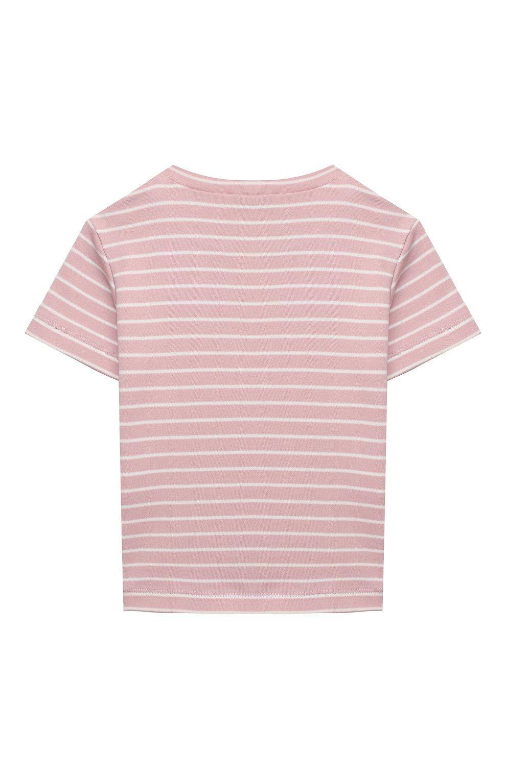 Детский хлопковая футболка LES LUTINS PARIS розового цвета, арт. 21E351/TSHIRT RAYE GLACE   Фото 2
