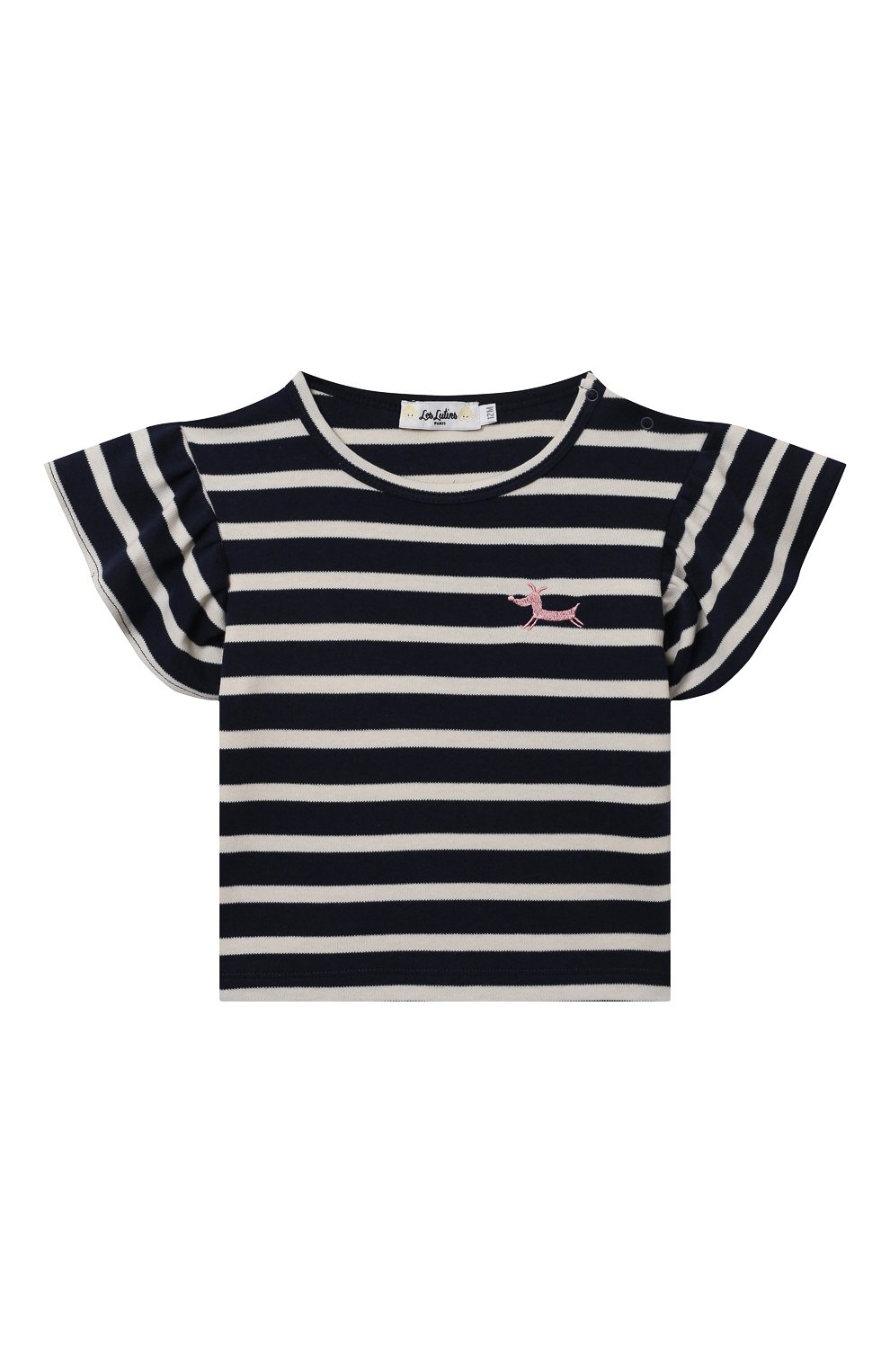 Детский хлопковая футболка LES LUTINS PARIS темно-синего цвета, арт. 21E345/TSHIRT RAYE CHIEN   Фото 1