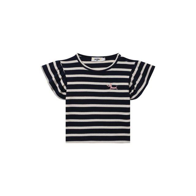 Хлопковая футболка Les Lutins Paris. Цвет: синий