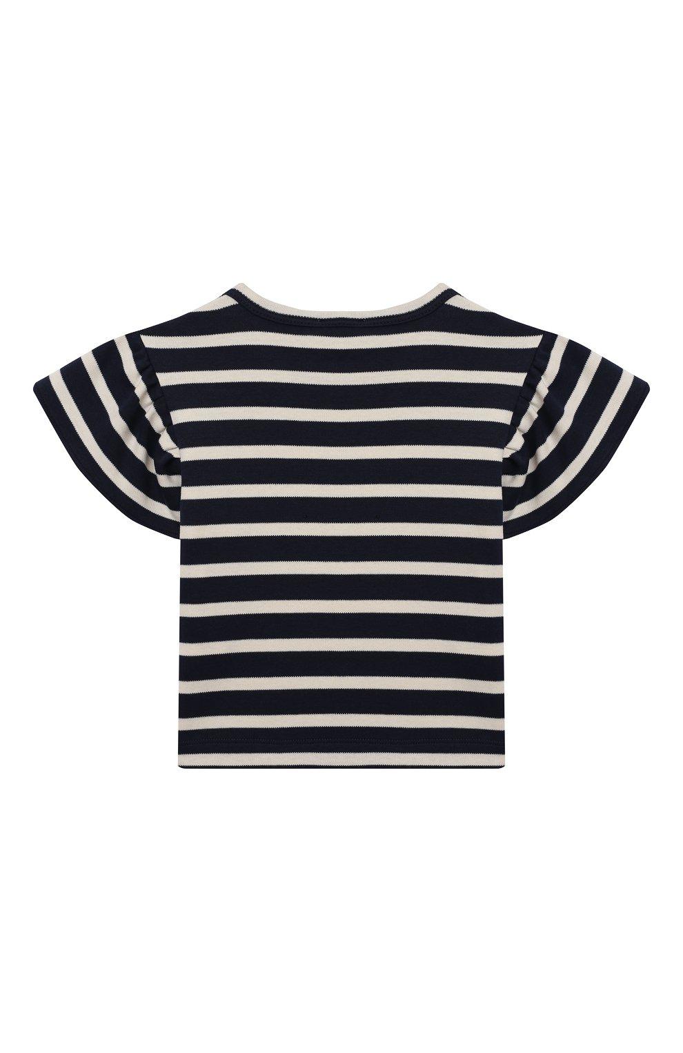 Детский хлопковая футболка LES LUTINS PARIS темно-синего цвета, арт. 21E345/TSHIRT RAYE CHIEN   Фото 2