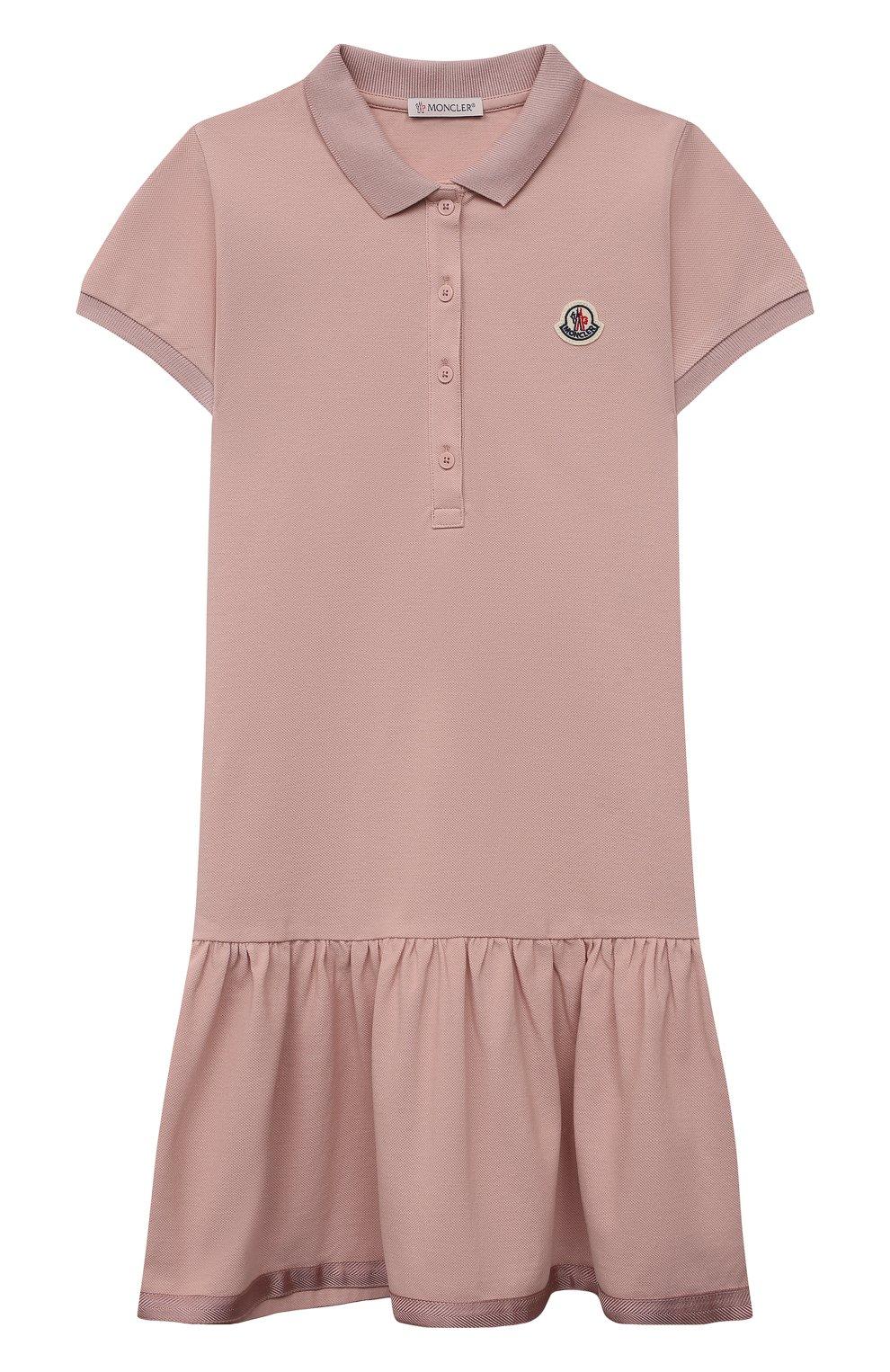 Детское хлопковое платье MONCLER розового цвета, арт. G1-954-8I700-10-8496F/12-14A | Фото 1