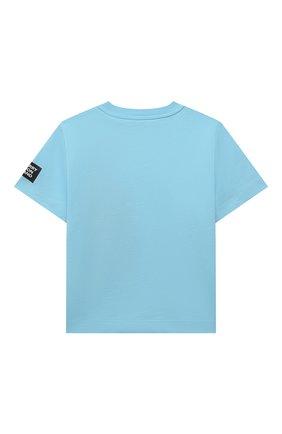 Детская хлопковая футболка BURBERRY голубого цвета, арт. 8038458 | Фото 2