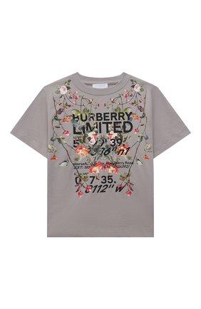 Детская хлопковая футболка BURBERRY темно-серого цвета, арт. 8038447 | Фото 1