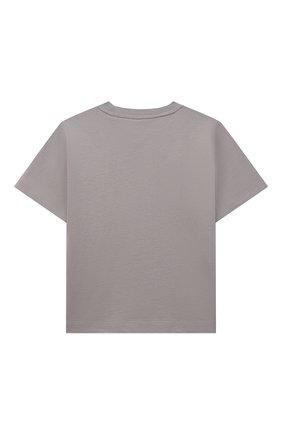 Детская хлопковая футболка BURBERRY темно-серого цвета, арт. 8038447 | Фото 2