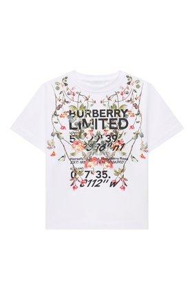 Детская хлопковая футболка BURBERRY белого цвета, арт. 8038446 | Фото 1