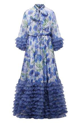 Женское шелковое платье DOLCE & GABBANA синего цвета, арт. I6AE7W/GDZAX   Фото 1 (Материал внешний: Шелк; Женское Кросс-КТ: Платье-одежда; Стили: Романтичный; Случай: Вечерний; Материал подклада: Шелк; Рукава: Длинные; Длина Ж (юбки, платья, шорты): Макси)