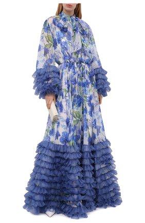 Женское шелковое платье DOLCE & GABBANA синего цвета, арт. I6AE7W/GDZAX   Фото 2 (Материал внешний: Шелк; Женское Кросс-КТ: Платье-одежда; Стили: Романтичный; Случай: Вечерний; Материал подклада: Шелк; Рукава: Длинные; Длина Ж (юбки, платья, шорты): Макси)