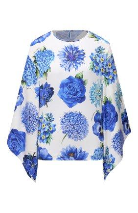 Женская шелковая блузка DOLCE & GABBANA голубого цвета, арт. I7K33W/GDZAK | Фото 1
