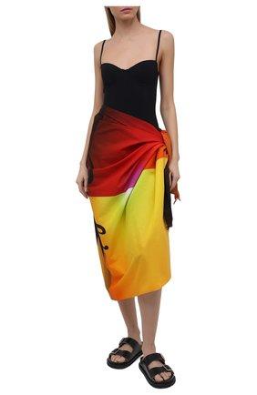 Женское хлопковое парео loewe x paula's ibiza LOEWE разноцветного цвета, арт. F616913X01 | Фото 2 (Материал: Текстиль, Хлопок; Женское Кросс-КТ: Аксессуары-пляжная одежда)
