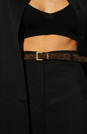 Женский кожаный ремень SAINT LAURENT коричневого цвета, арт. 554465/2VJ0W | Фото 2 (Кросс-КТ: Тонкие)