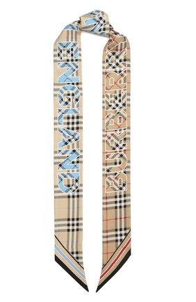 Женский шелковый шарф BURBERRY бежевого цвета, арт. 8040569 | Фото 1