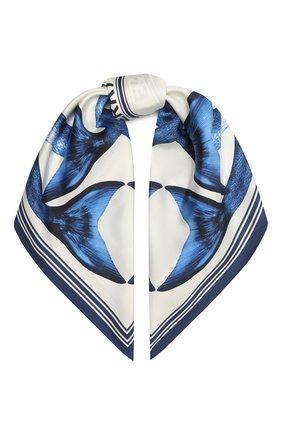 Женский шелковый платок BURBERRY синего цвета, арт. 8040553 | Фото 1