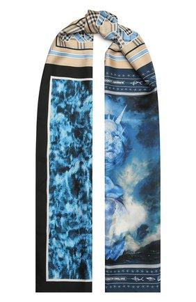 Женский шелковый шарф BURBERRY голубого цвета, арт. 8039875 | Фото 1