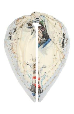 Женская кашемировая шаль BURBERRY белого цвета, арт. 8039813   Фото 1