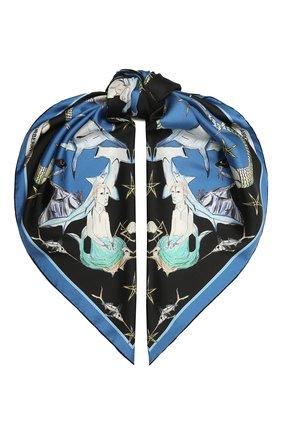Женский шелковый платок BURBERRY синего цвета, арт. 8039623 | Фото 1