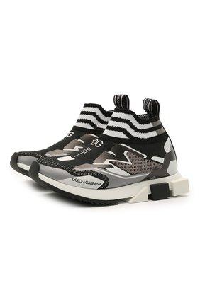 Детские кроссовки DOLCE & GABBANA черно-белого цвета, арт. DA0972/A0242/24-28   Фото 1