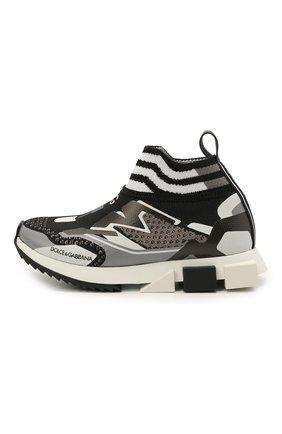Детские кроссовки DOLCE & GABBANA черно-белого цвета, арт. DA0972/A0242/24-28   Фото 2