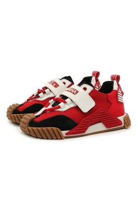 Детские кроссовки DOLCE & GABBANA красного цвета, арт. DA0976/A0271 | Фото 1
