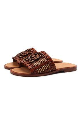 Женские кожаные шлепанцы LOEWE коричневого цвета, арт. L814465X04 | Фото 1 (Материал внутренний: Натуральная кожа; Подошва: Плоская; Каблук высота: Низкий)