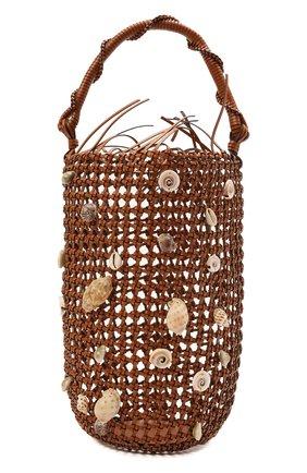Женская сумка mesh bucket loewe x paula's ibiza LOEWE коричневого цвета, арт. A546W52X02 | Фото 1 (Ремень/цепочка: На ремешке; Размер: large; Материал: Натуральная кожа, Растительное волокно; Сумки-технические: Сумки через плечо, Сумки top-handle)