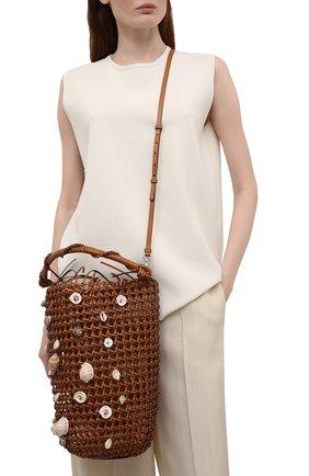 Женская сумка mesh bucket loewe x paula's ibiza LOEWE коричневого цвета, арт. A546W52X02 | Фото 2