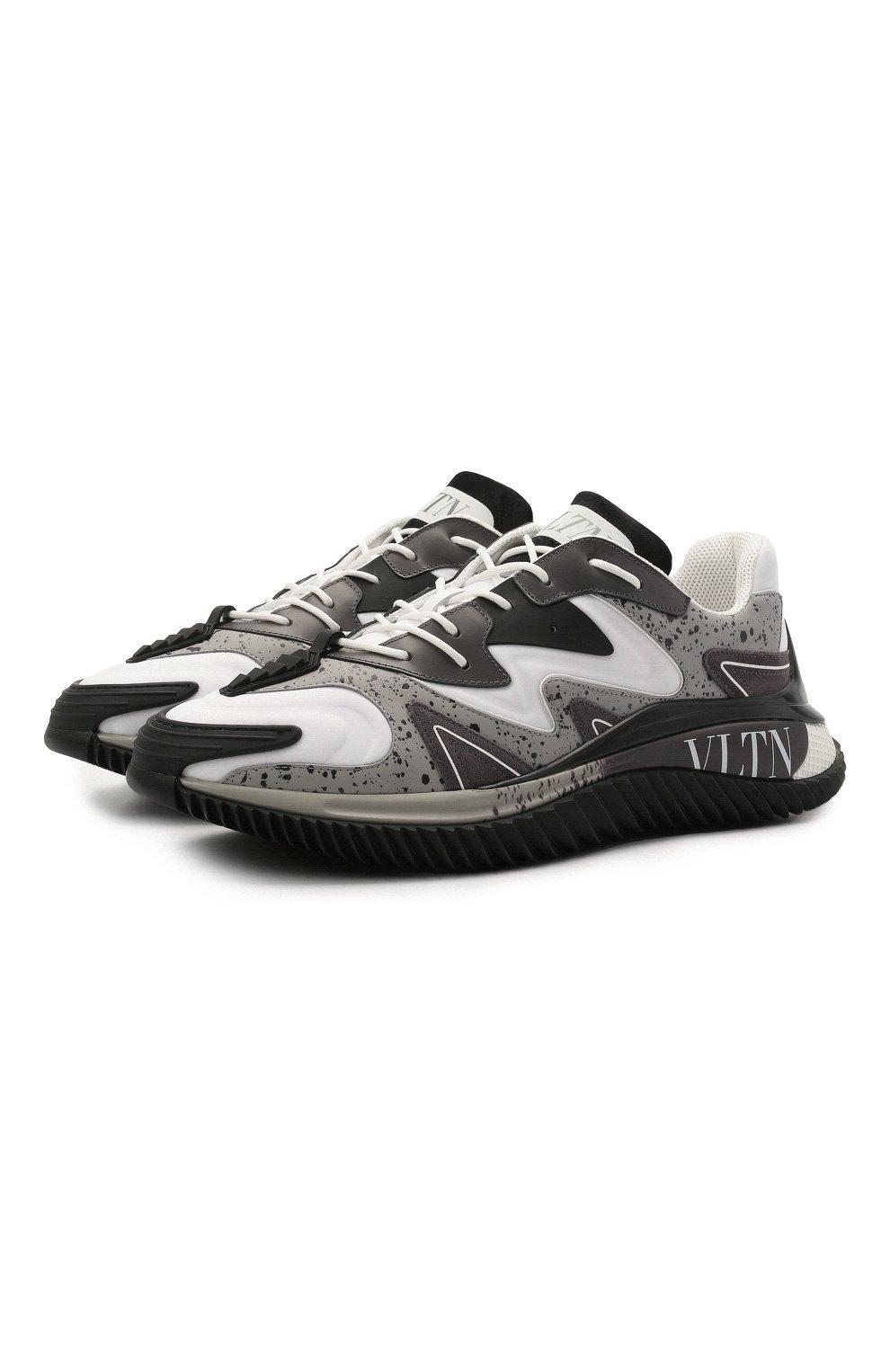 Мужские комбинированные кроссовки wade runner VALENTINO серого цвета, арт. VY0S0D95/NVD | Фото 1 (Материал внешний: Текстиль; Стили: Гранж; Материал внутренний: Текстиль; Подошва: Массивная)