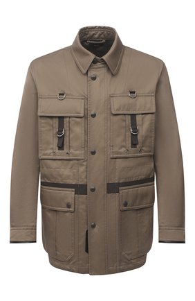 Мужская куртка из хлопка и вискозы TOM FORD хаки цвета, арт. BW076/TF0544 | Фото 1